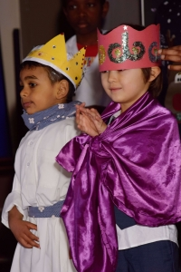 two magi with crowns in christmas story
