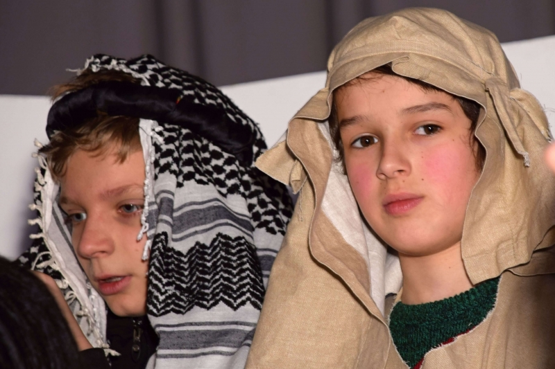 two boys dressed as shepherds