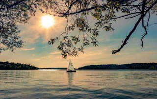 sunset yacht sailing lake water