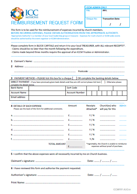 preview of the reimbursement request form